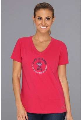 Life is Good Home Slice Crusher Vee (If You Grill It/Cherry Red) - Apparel