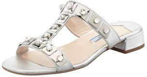 Prada Jeweled Double-Strap Slide Silver