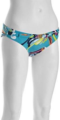 BCBGMAXAZRIA lagoon blue printed stretch nylon belted bikini bottom