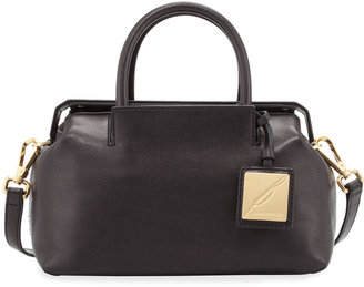Brian Atwood Sandra Mini Leather Satchel Bag, Black