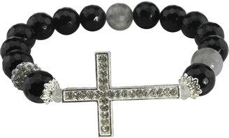 JCPenney FINE JEWELRY NATE & ETAN Black & White Gemstone Cross Stretch Bracelet