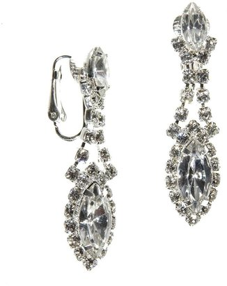 Dillard's crystal collection framed navette clip-on earrings