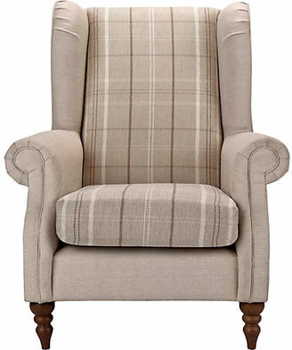 BEIGE Argos Home Argyll Checked Fabric Chair