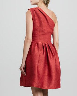 Halston One-Shoulder Bell Dress