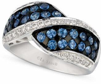 LeVian Le Vian Ceylon Sapphire (1-1/3 ct. t.w.) and Diamond (1/4 ct. t.w.) Ring in 14k White Gold
