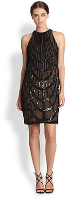 Nicole Miller Optical Illusion Sequin-Patterned Silk Chiffon Dress
