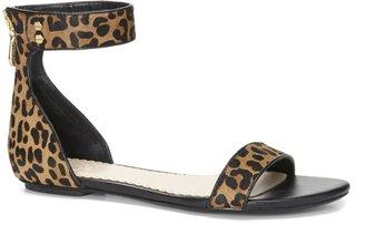 C. Wonder Leopard Calf Hair Ankle Strap Sandal