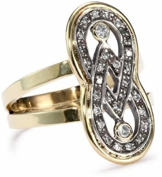 Moritz Glik Kaleidoscope 18K Gold and Pave Diamond Infinity Ring