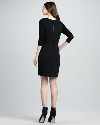 Phoebe Couture Long-Sleeve Mixed-Media Dress