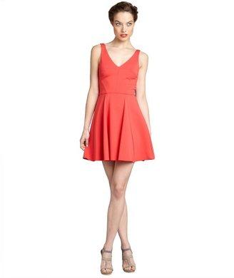 ABS by Allen Schwartz strawberry neoprene v-neck sleeveless flared dress