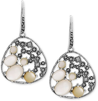 Mother of Pearl Genevieve & Grace Sterling Silver Earrings, Marcasite and Earrings