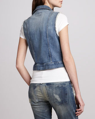 Current/Elliott Sleeveless Snap-Front Denim Jacket