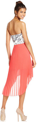 Sequin Hearts Juniors Dress, Strapless Sequin High-Low