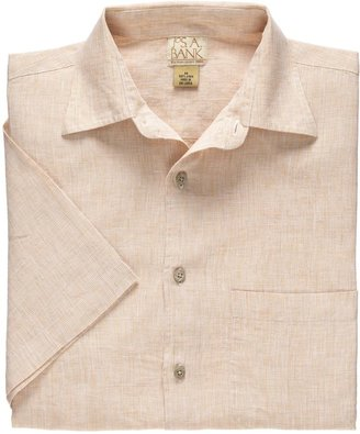 Jos. A. Bank VIP Linen Point Collar Short-Sleeve Pattern Sportshirt Big/Tall