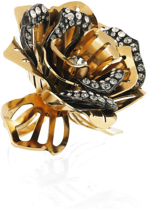 Lanvin Swarovski crystal-embellished rose ring