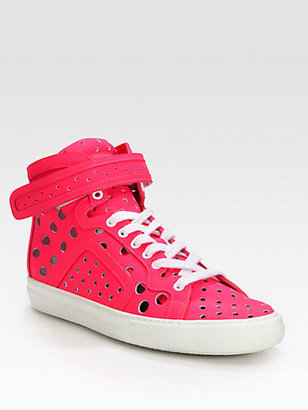 Pierre Hardy Perforated Patent Leather High-Top Sneakers