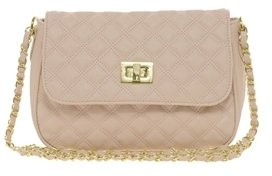 Asos Quilted Lock Cross Body Bag - Nude