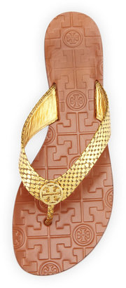 Tory Burch Thora Logo Thong Sandal, Gold