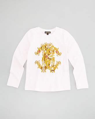 Roberto Cavalli Jeweled Logo-Print Long-Sleeve Tee, Sizes 7-10