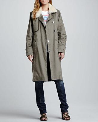 Rebecca Minkoff Shearling-Collar Trenchcoat