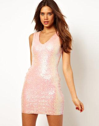 Lipsy Mini Dress in Iridescent Sequin