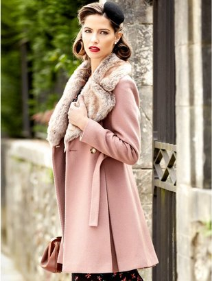 M&Co Textured faux fur collar coat