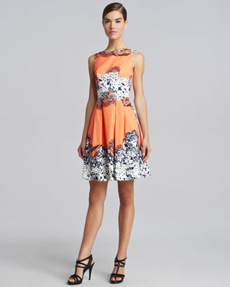 Blumarine Printed Full-Skirt Dress