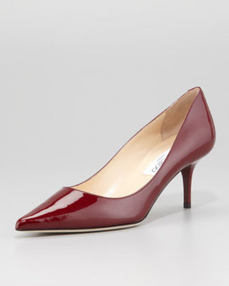 Jimmy Choo Aurora Pointed-Toe Patent Pump, Claret