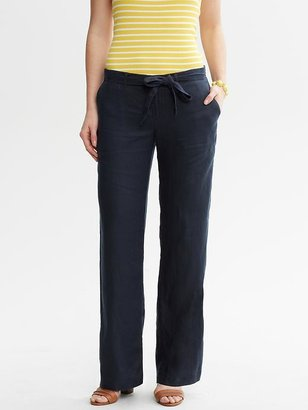 Banana Republic Navy Linen Wide-Leg Pant