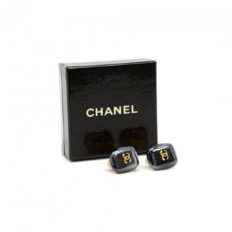 Chanel excellent (EX Black Rectangle Shaped Earrings
