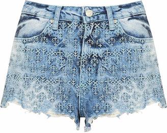 Topshop Moto folk embroidered hotpants