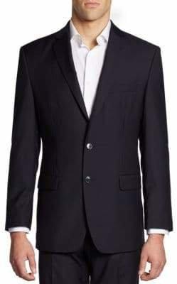 Calvin Klein Hairline-Striped Slim-Fit Wool Jacket