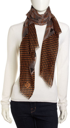 Jonathan Adler Fish-Scale and Dot-Print Lightweight Scarf, Brown/Multi