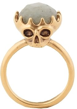 House Of Harlow Double Sided Skull Ring with Labradorite
