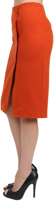 Corey Lynn Calter Darby Crossover Pencil Skirt in Rust