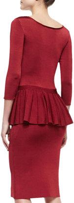 Zac Posen Wanda 3/4-Sleeve Peplum Dress