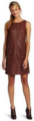 Anne Klein Women's Faux Leather Shift Dress