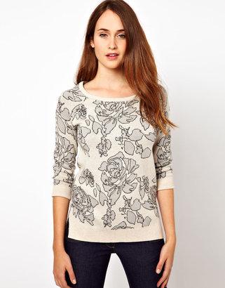 Warehouse Floral Intarsia Sweater