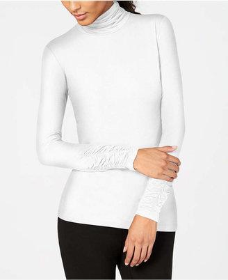 Alfani Long-Sleeve Ruched Turtleneck Top