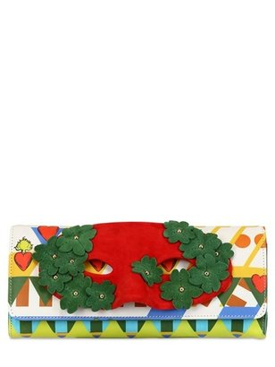 Burlesque Printed Leather Clutch