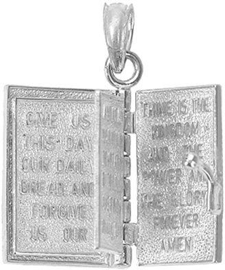 Holy Bible Book Pendant, Sterling/14K Gold