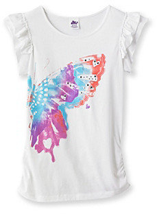 Miss Attitude Girls' 7-16 Butterfly Double Ruffle Graphic Tee