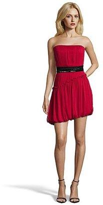 Vera Wang lipstick silk chiffon belted bubble hem pleated strapless dress