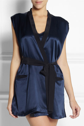Kiki de Montparnasse Amour sleeveless silk-satin robe