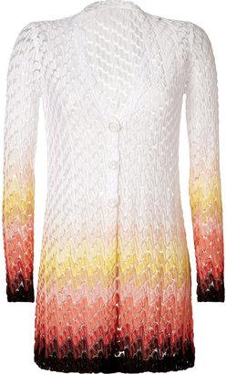 Missoni White/Melon-Multi Long Rayon Cardigan
