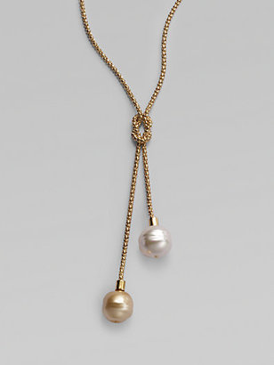 Majorica 14MM White and Champagne Baroque Pearl Lariat Necklace
