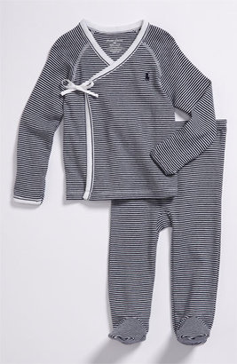 Infant Boy's Ralph Lauren Stripe Kimono Two-Piece Set $35 thestylecure.com