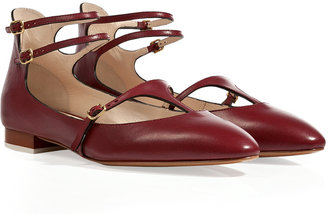 Chloé Leather T-Strap Mary-Janes in Barolo