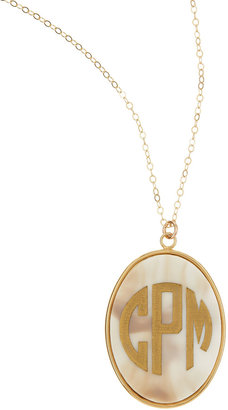 Moon and Lola Extra Large Oval Acrylic Block Monogram Pendant Necklace