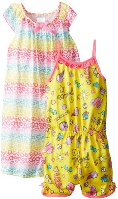 Komar Kids Big Girls' Animal Cool Summer Pajama Set Gown and Romper